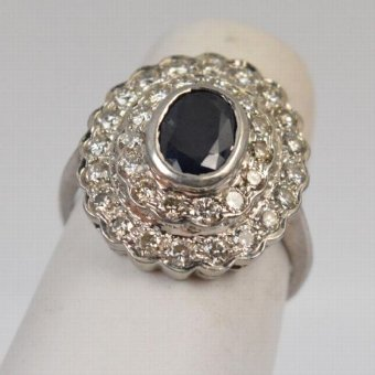 Antique Beautiful Art Deco Large 18ct White Gold Sapphire & 1ct Diamond Cluster Ring