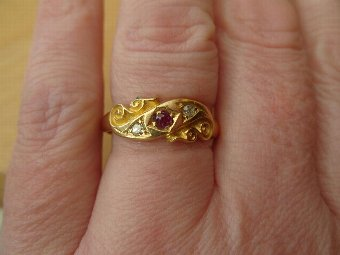 Antique Superb Antique 18ct Gold Ruby & Diamond Ring Hallmarked 1918