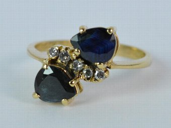 Antique Art Deco Pear Cut Double Sapphire and Diamond Ladies 18ct Gold Cluster Ring