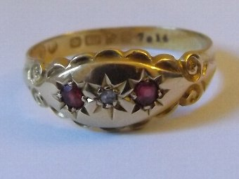 Antique Lovely Edwardian 18ct Gold Ruby & Diamond Gypsy Ring