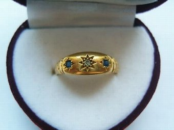 Antique Super Edwardian 18ct Gold Sapphire & Diamond Gypsy Ring