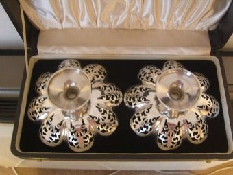 Antique Stunning Boxed Pair of Silver Hallmarked Tazzae