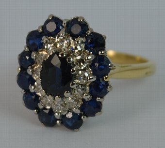 Antique Large Deco Sapphire & Diamond 18ct Gold Ladies Engagement Ring