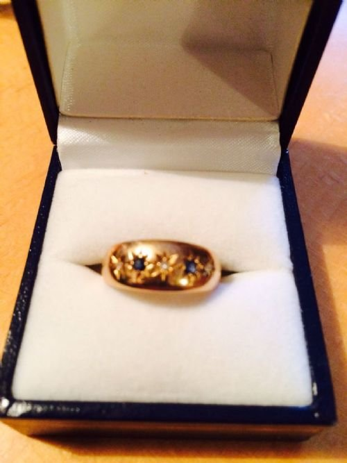 Antique Lovely Antique Chester Hallmarked Diamond and Sapphire Ring
