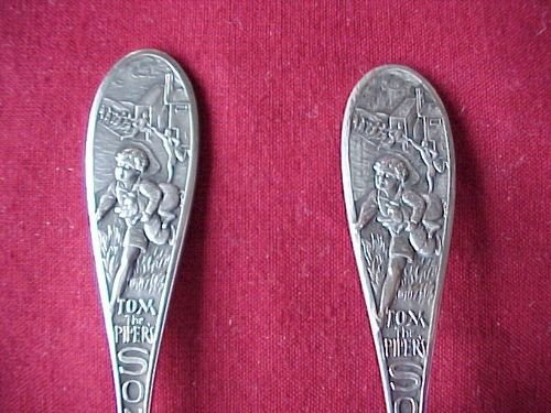 Antique LOVELY GLASGOW 1930 SOLID SILVER CHRISTENING SET TOM THE PIPERS SON