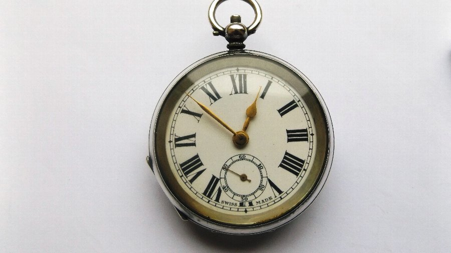 Antique Silver Cased Open Face Pocket Watch.