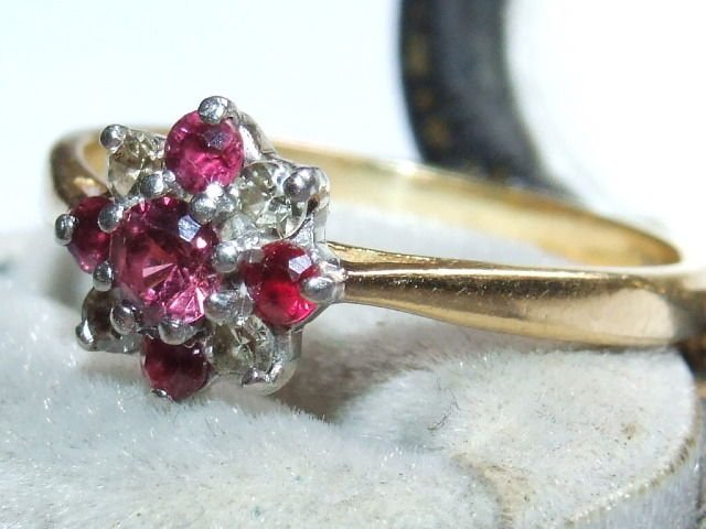 Antique Stunning, Art Deco Solid 18ct Gold & Platinum Natural Diamond & Ruby Ring