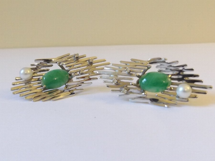 Antique Superb Pair of 18ct White Gold, Jade, Diamond and Cultured Pearl Earrings