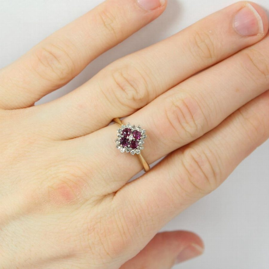 Antique Stunning Ruby & Diamond 18ct Gold Cluster Ring