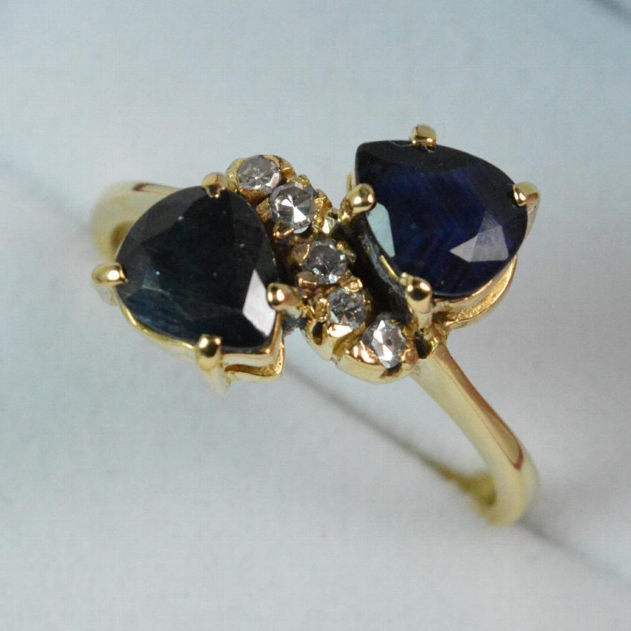 Art Deco Pear Cut Double Sapphire and Diamond Ladies 18ct Gold Cluster Ring
