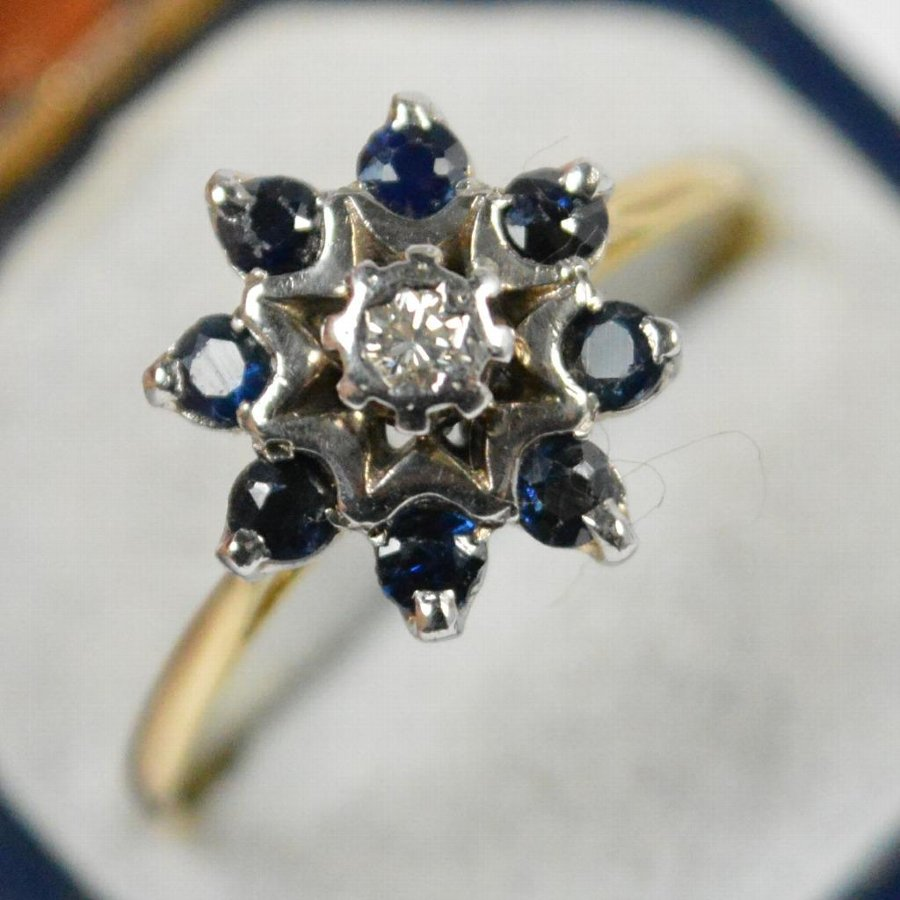 Antique Art Deco 18ct Gold Sapphire & Diamond Cluster Ring
