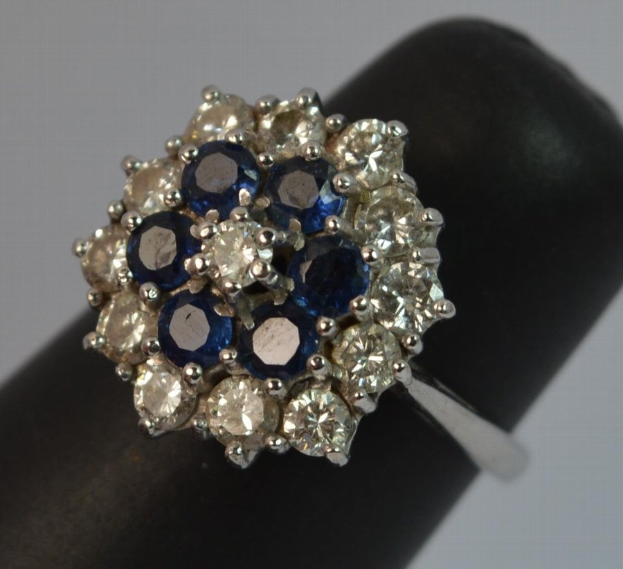 Antique Stunning Victorian 18ct White Gold 1ct Diamond & Sapphire Cluster Ring