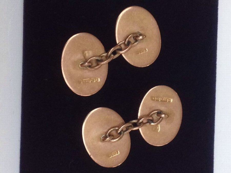 Antique Lovely Pair of 9ct Gold Gents Cufflinks 10.5g