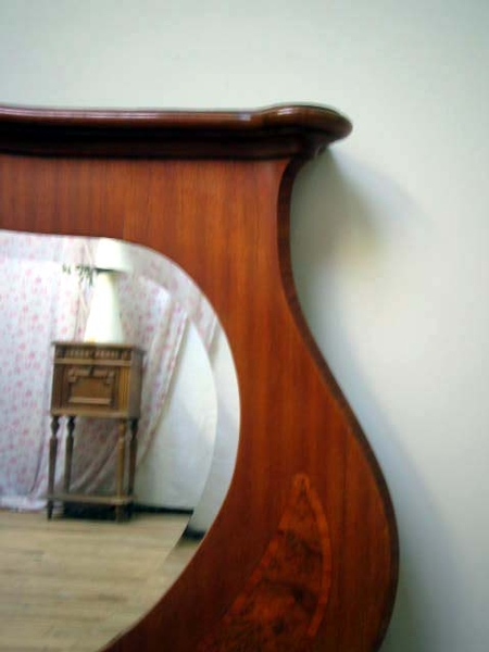 Antique LARGE SHAPELY ANTIQUE FRENCH MAHOGANY MIRROR - C1940
