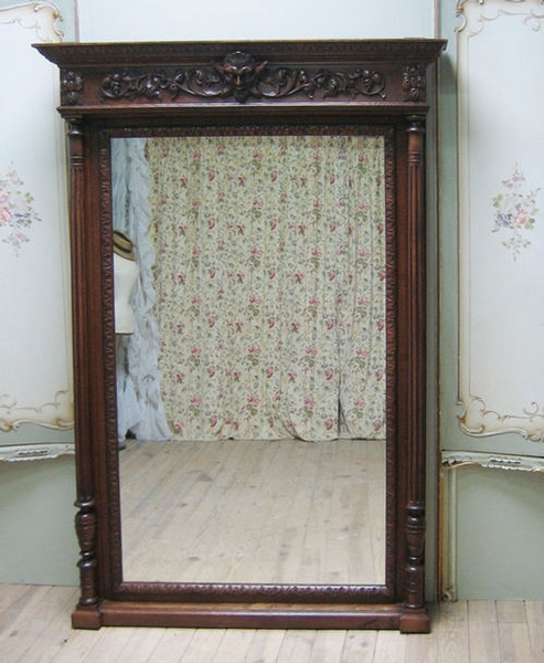 HUGE ANTIQUE FRENCH GREEN MAN COLUMN MIRROR - C1900