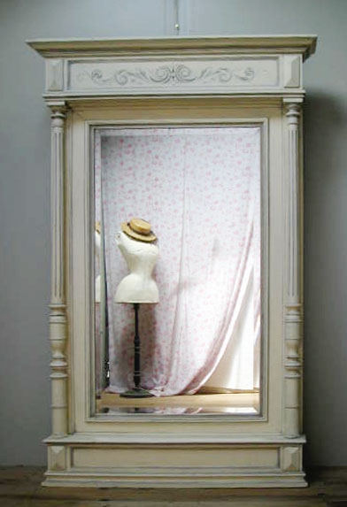 ENORMOUS PAINTED ANTIQUE FRENCH DRESSING MIRROR - C1900