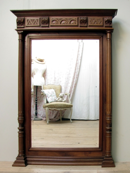 LARGE ANTIQUE FRENCH CARVED WALNUT COLUMN MIRROR -C1900