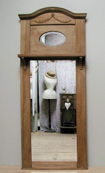 Antique CHARMING ANTIQUE FRENCH SOLID OAK MIRROR - C1920