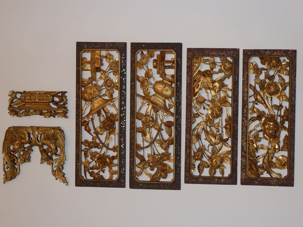 Antique 19th Century - CHINESE, Carved Gold Wooden Furniture Panel Screen, Birds Flowers