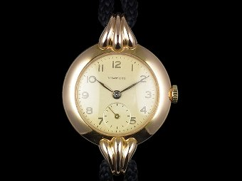 Antique Tiffany & Co solid 18ct gold watch - c1950s