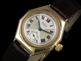 Rolex Oyster octagonal 9ct gold watch - c1930s