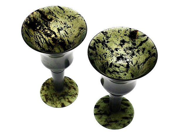 Antique Rare Chinese spinach antique jade goblets - pair - late 1800s