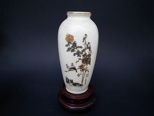 Antique Japanese porcelain painted vases - c1920s