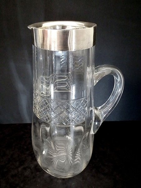 Victorian silver topped antique glass water jug - c1900