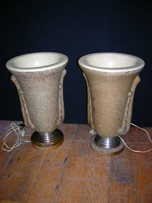 Antique Pair of 1930's French Table Lamps
