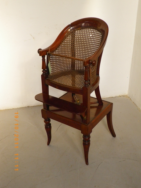 Antique English mahogany child's high chair in 2 parts, caned sides and seat