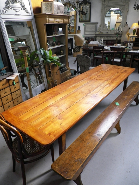 Antique French farmhouse fruitwood table, tapered legs