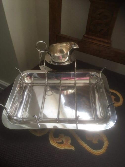 Antique Silver Plated Asparagus Dish With Sauce Boat - James Dixon Maker