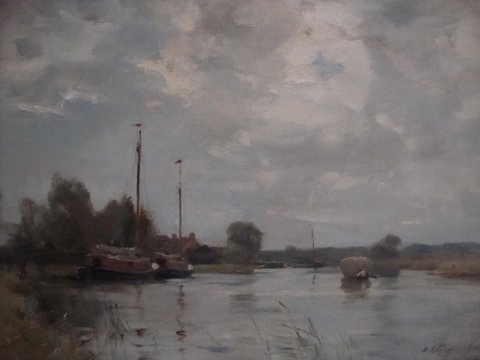Antique Norfolk Broads Landscape.  (W.M.Frazer 1864-1961)