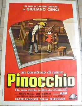 Antique POSTER PINOCCHIO FROM ITALY, ORIGINAL 1970