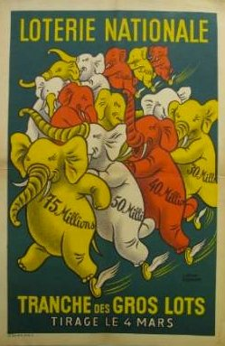 French 1950`s Lottery Poster - year 1950