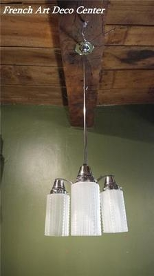 Antique French  Art Deco Modernist Chrome Ceiling Light c1935