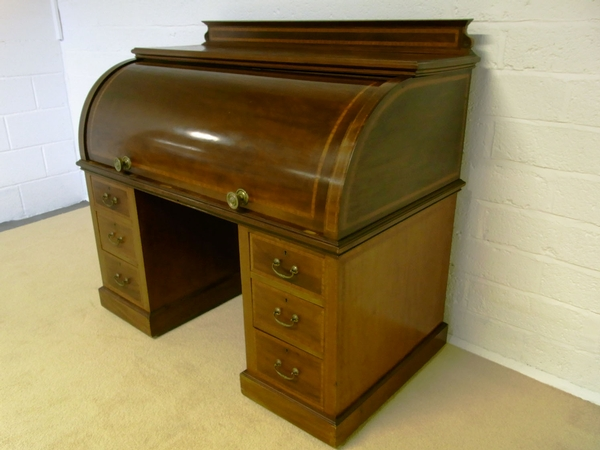 Antique Antique inlaid cylinder desk