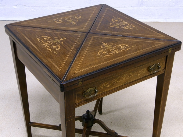 Antique Antique inlaid envelope card table in rosewood