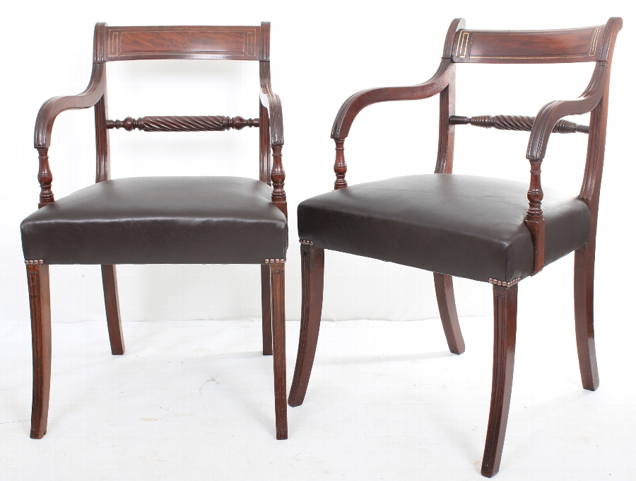 Pair of mahogany regency rope back inlaid chairs