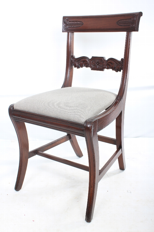 Set of 6 late regency mahogany sabre leg chairs