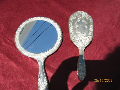 Antique 2 piace SILVER LADY VANITY SET