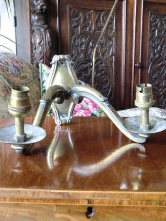 Antique Candelabra centre light C.1930's bronzed solid brass with 4 matching double arm wall lights