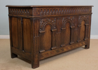 Antique Antique Oak Coffer Blanket Chest.
