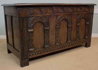 Antique Antique Oak Coffer, Blanket Chest.