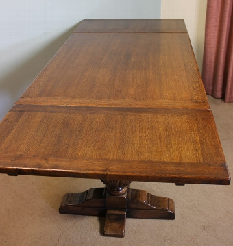 Antique Antique Oak Refectory Draw Leaf Dining Table