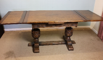Antique Antique Oak Refectory Draw Leaf Farmhouse Dining Table,
