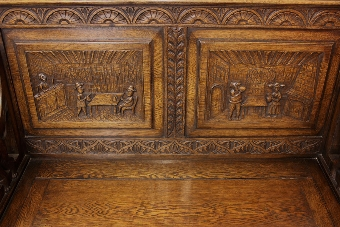 Antique Antique Oak Box Settle Monks Bench