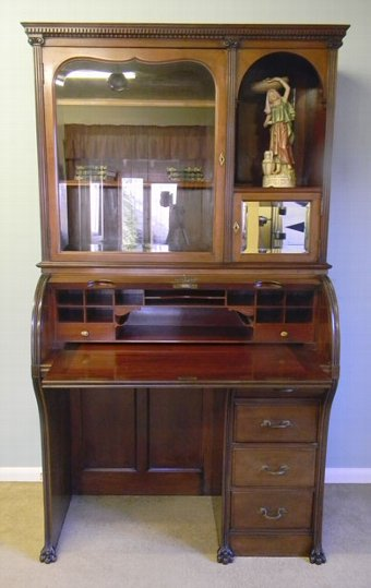 Antique Antique Mahogany Bureau Bookcase Display Cabinet