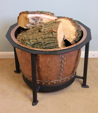 Antique Antique Victorian Copper Coal / Log Bin