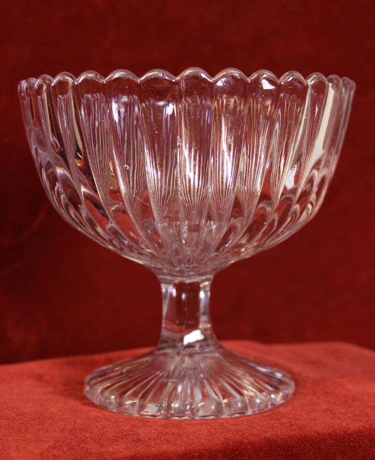 Antique Antique Edwardian Pressed Glass Sugar Bowl,